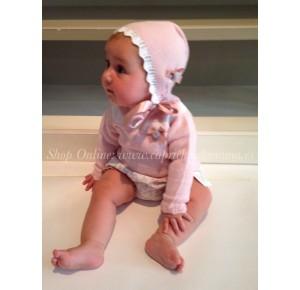 Conjunto cubre bebé niña de Carmen Taberner rosa palo