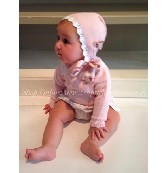 8f8a6df30fc Conjunto cubre bebé niña de Carmen Taberner rosa palo