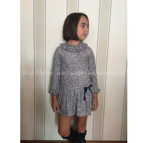 Vestido de topos marino Swing de Eve Children