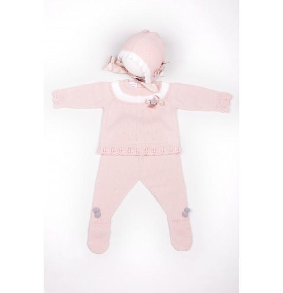 Conjunto polaina bebé de Carmen Taberner pompón