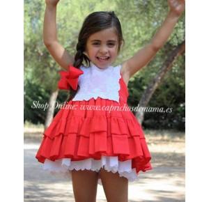 Vestido niña La Peppa vuelo rojo