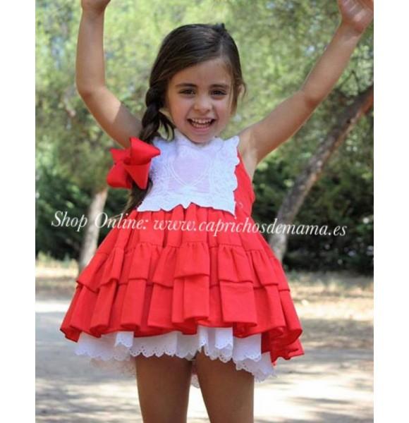 ad12493996 Vestido niña LaPeppa vuelo rojo