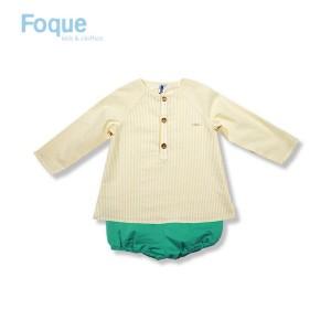 Conjunto de bombacho bebé niño de Foque amarillo y menta