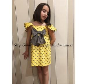 Vestido niña de Eve Children amarillo caballos