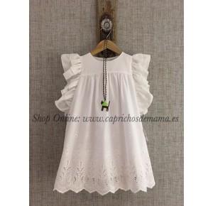 Vestido niña de Lapeppa perforado blanco