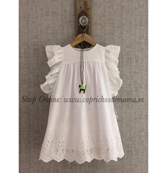 81f0b8ddc Vestido niña de Lapeppa perforado blanco   Ropa Infantil