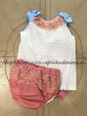 Blusa y braguita bebé niña de Nini rosa empolvado