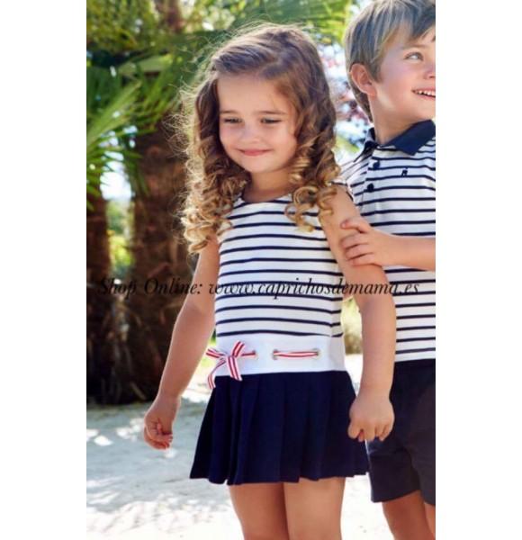 Vestido niña Navy de Paz Rodriguez algodón