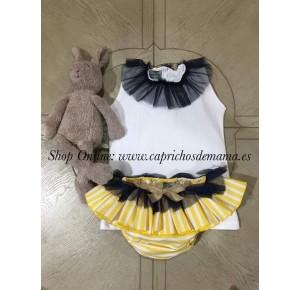 Camiseta y braguita niña de Mon Petit rayas amarillas
