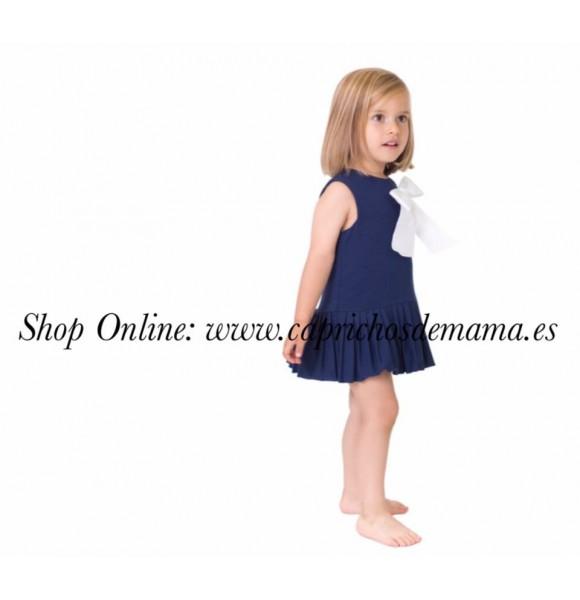 Vestido niña de Eve Children plisado azul marino
