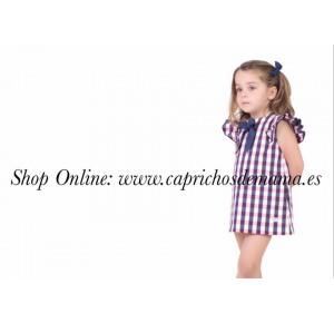 Vestido niña de Eve Children cuadros marino y rosa