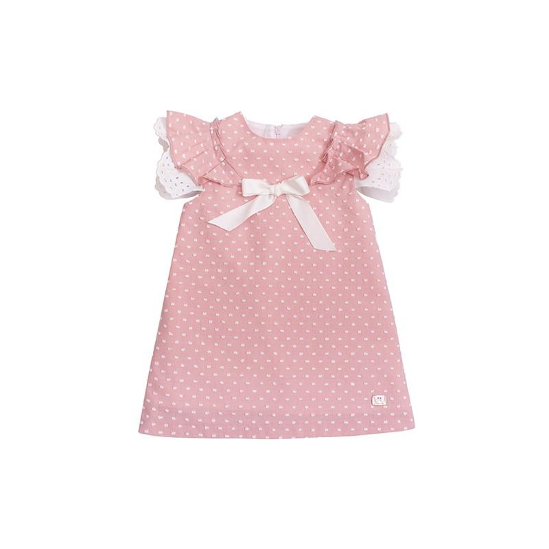 09cea7a00ee7f ... Vestido niña de Eve Children plumeti rosa empolvado