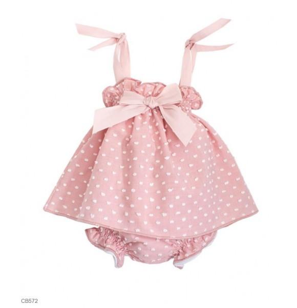 c2d28ea8609 Jesusito bebé niña Eve Children plumeti rosa empolvado