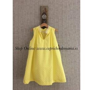 Vestido niña de Mía y Lía plumeti amarillo