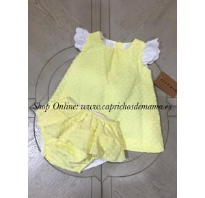 Jesusito bebé niña de Mía y Lía plumeti amarillo