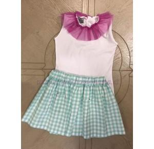 Conjunto falda niña de Mon Petit vichy verde agua