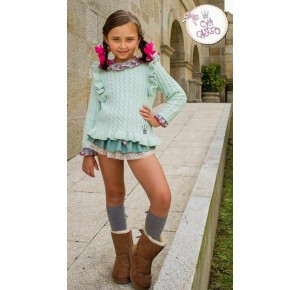 Blusa y bombacho niña Colette de Eva Castro verde agua