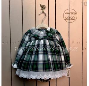 Jesusito bebé niña de Valentina Bebés tartán verde