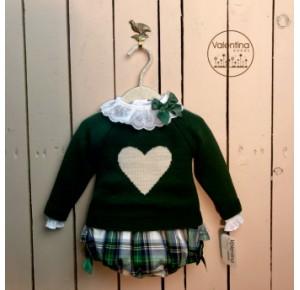 Conjunto bebé niña Navy de Valentina Bebés verde