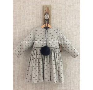 Vestido niña de Mía y Lía gris pájaros