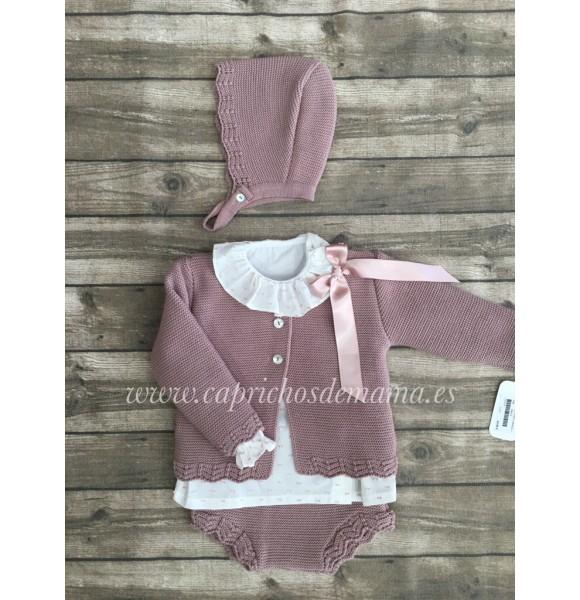 9e1c3a0a5d9fb Conjunto bebé niña de Valentina Bebés punto rosa palo