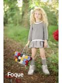 Vestido niña de Foque algodón gris