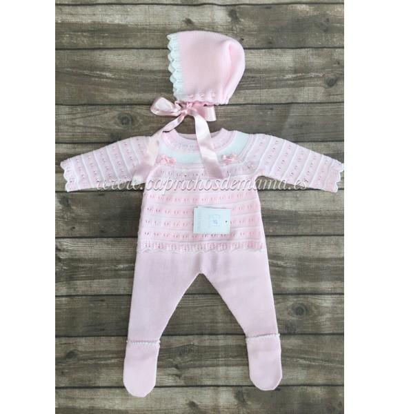 Conjunto polaina bebé niña de Carmen Taberner rosa