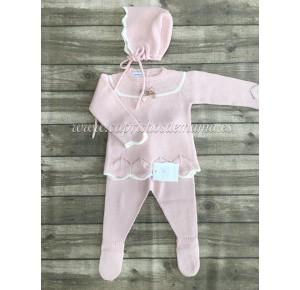 Conjunto polaina bebé niña de Carmen Taberner rosa palo