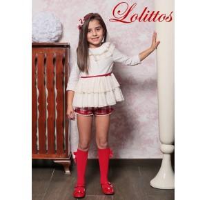 Conjunto short niña Caperucita de Lolittos rojo