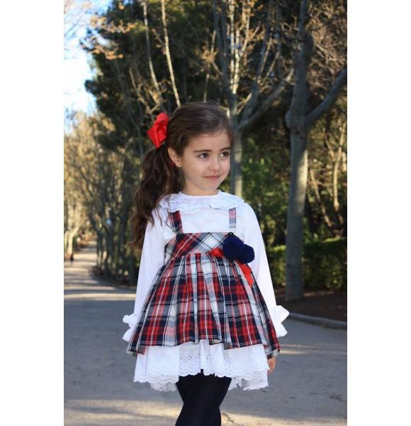 872003165 Conjunto niña blusa y falda con tirantes de Lapeppa| Ropa Infantil