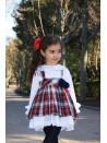 Conjunto niña blusa y falda con tirantes de Lapeppa cuadros