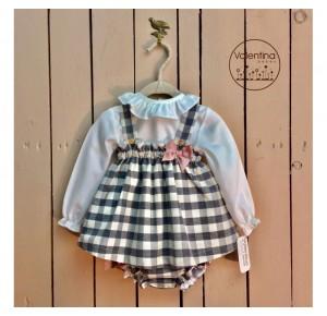 Conjunto pichi bebé niña de Valentina Bebés vichy gris