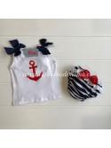 Camiseta y braguita bebé niña Ancla de Nini