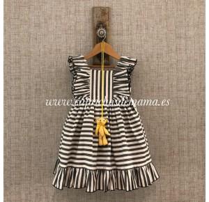 Vestido niña de Mon Petit a rayas negras