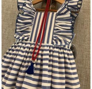 Vestido niña de Mon Petit a rayas azules