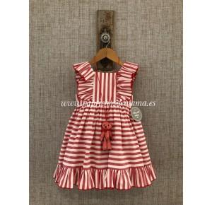 Vestido niña de Mon Petit a rayas rojas