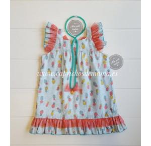 Vestido niña de Mon Petit estampado piñas