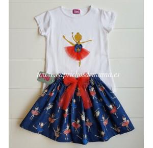 Camiseta y falda niña Bailarinas de Nini