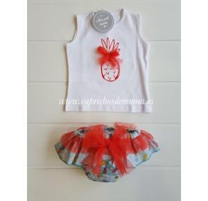 Camiseta y braguita bebé niña de Mon Petit piñas