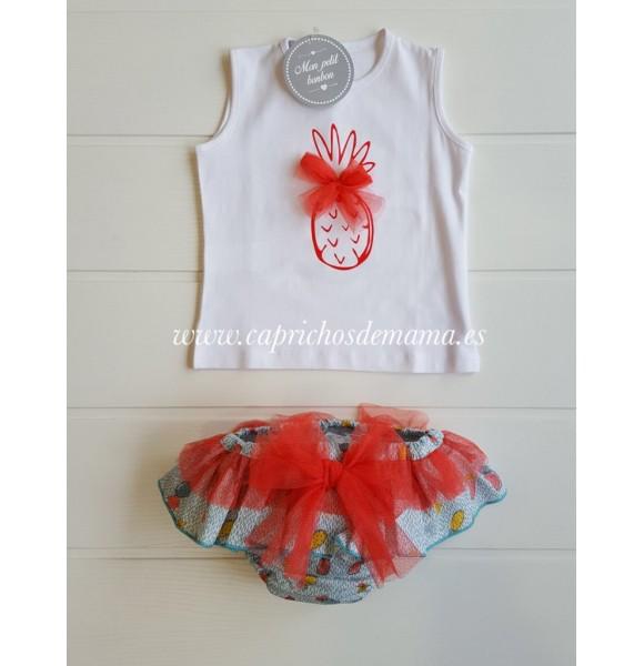 Camiseta y braga niña de Mon Petit piñas