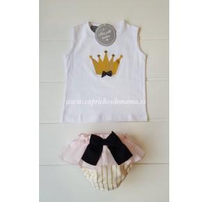 Camiseta y braga niña de Mon Petit corona