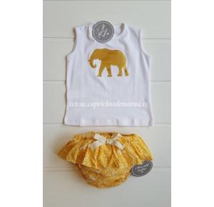 Camiseta y braga niña de Mon Petit elefante