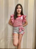 Camisa y short niña Sirope de Lolittos cuadros vichy