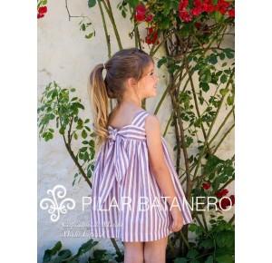 Vestido niña de Pilar Batanero rayas azul y rojo