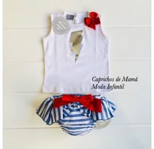 Camiseta y braguita bebé niña de Mon Petit rayo