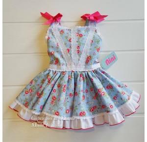 Vestido niña de Nini azul flores
