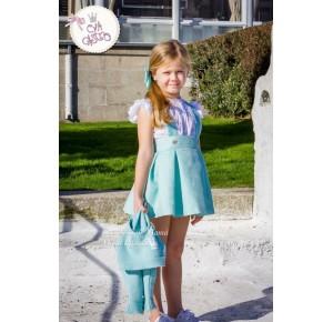Conjunto falda niña Karen de Eva Castro verde agua