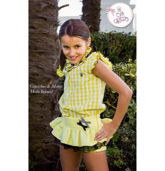 Conjunto bombacho niña Gina de Eva Castro amarillo