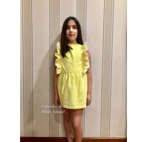 Vestido niña de Baby Yiro plumeti amarillo