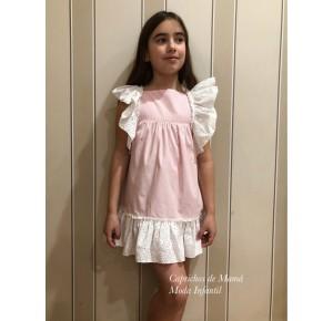 Vestido niña de Baby Yiro rayas rosa con volantes